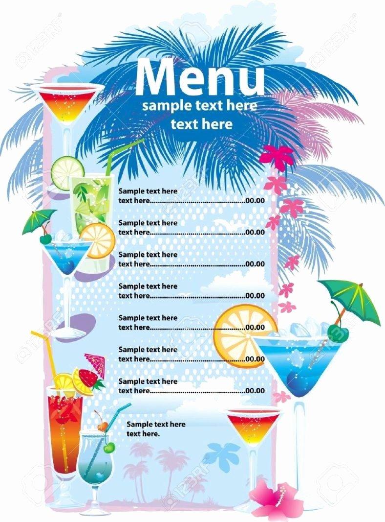 32 Bar Menu Designs