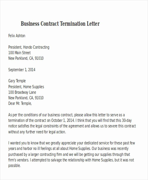 32 Termination Letter Examples Doc Pdf Ai
