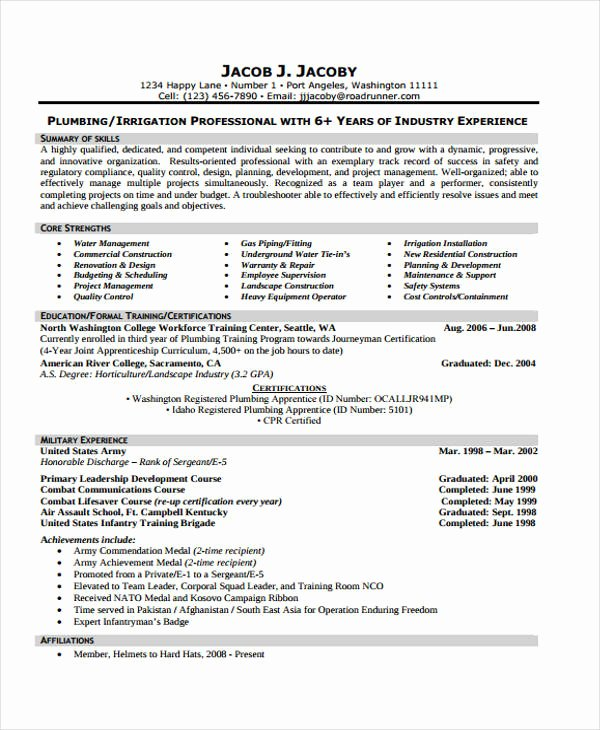 33 Sample Plumber Resume Best Apprentice Plumber Resume