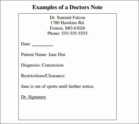 34 Doctors Note Samples – Pdf Word Pages Portable
