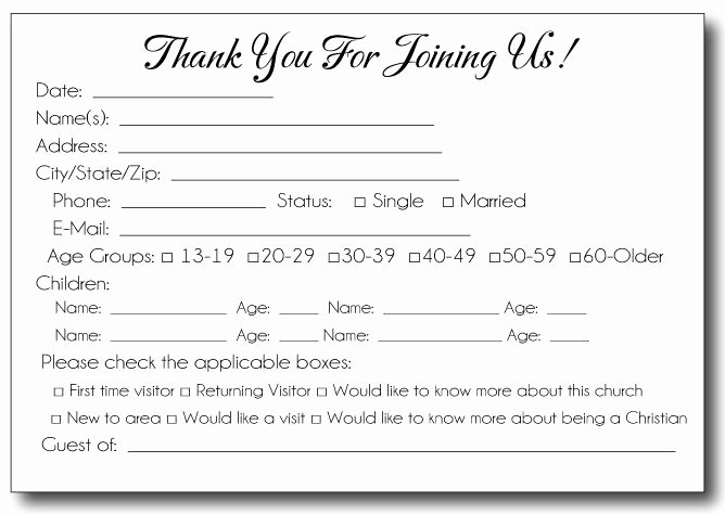 35 Awesome Visitor Card Images Church