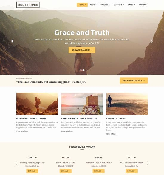 35 Best Church Website Templates Free & Premium