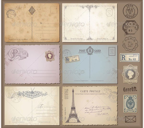 35 Best Vintage Postcard Design Templates for