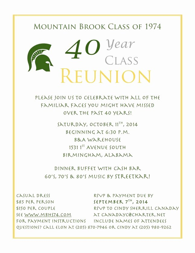 35 High School Reunion Invitation Templates Class Reunion