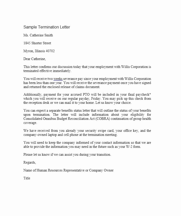 termination letter