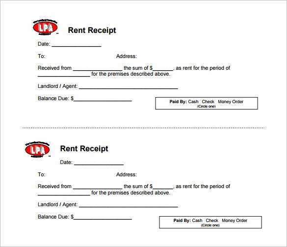rental receipt template