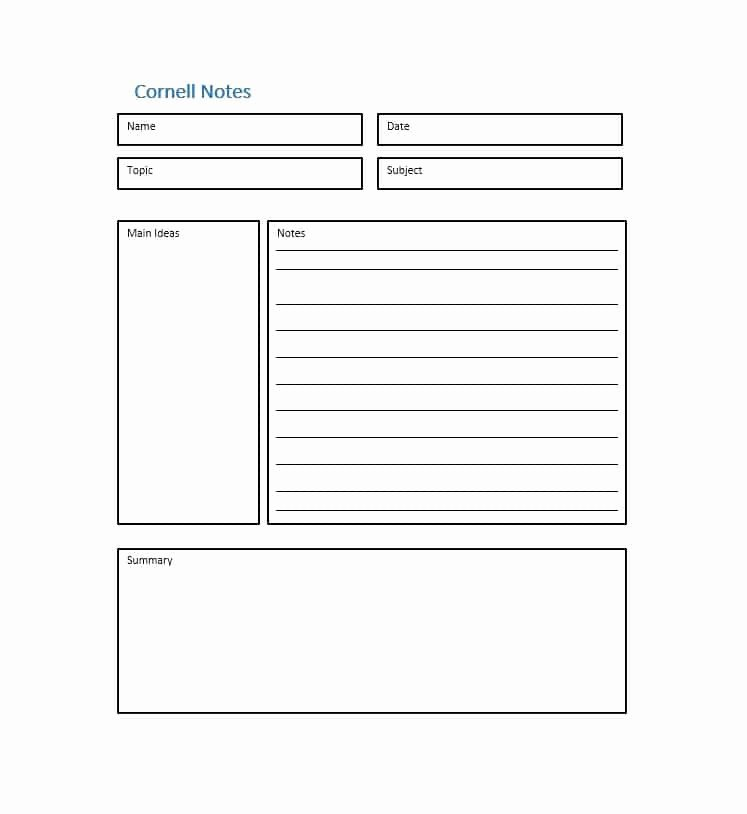 36 Cornell Notes Templates & Examples [word Pdf