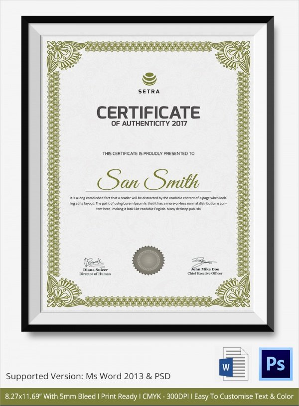 36 Sample Certificate Of Authenticity Templates