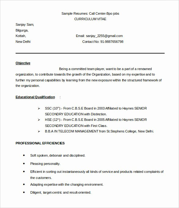 37 Bpo Resume Templates Pdf Doc