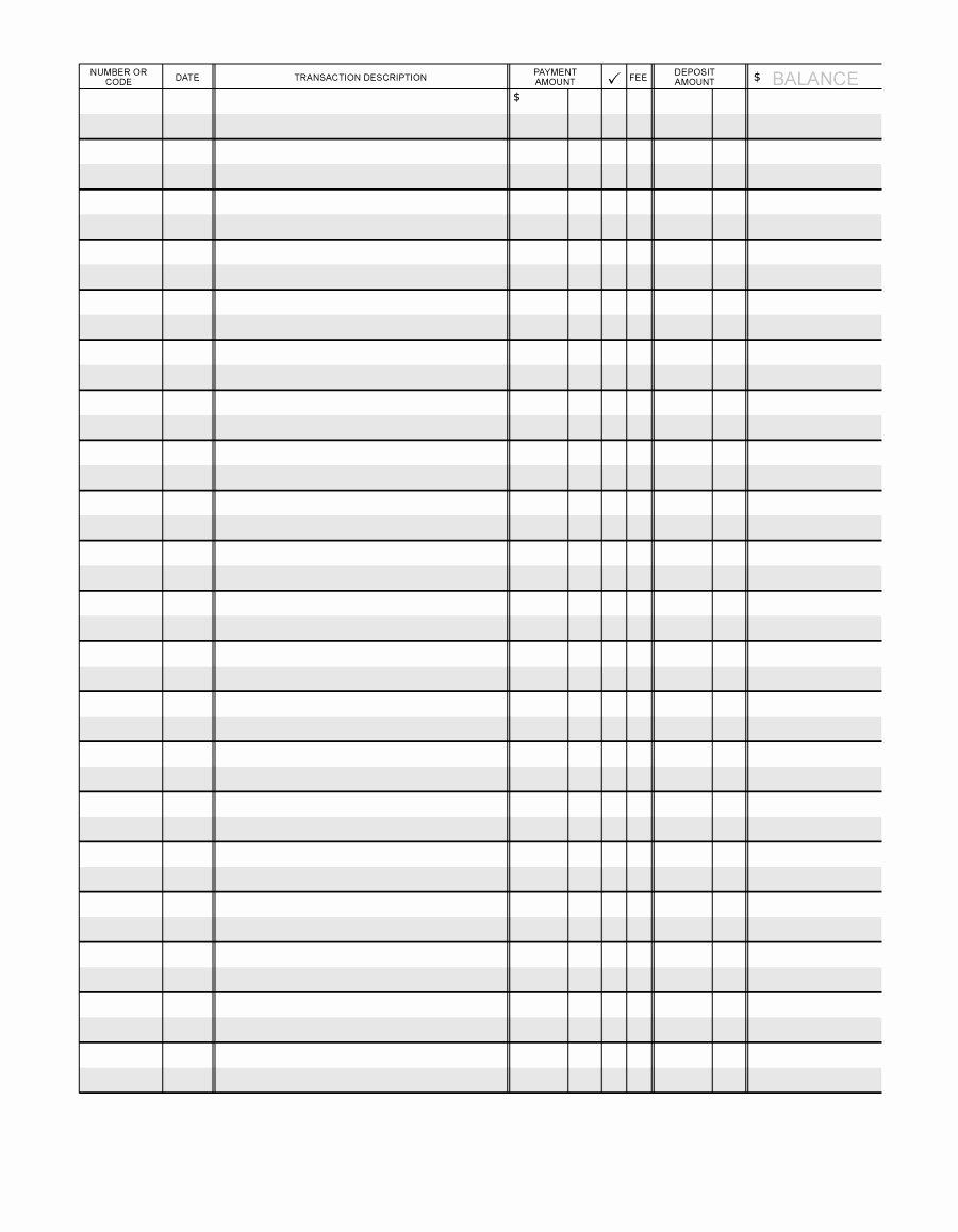 37 Checkbook Register Templates [ Free Printable