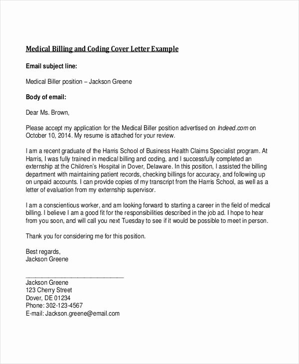 Medical Billing Resume Latter Example Template
