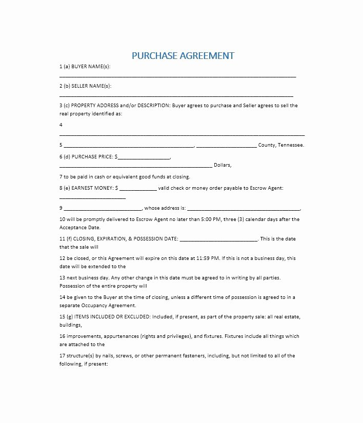 37 Simple Purchase Agreement Templates [real Estate Business]