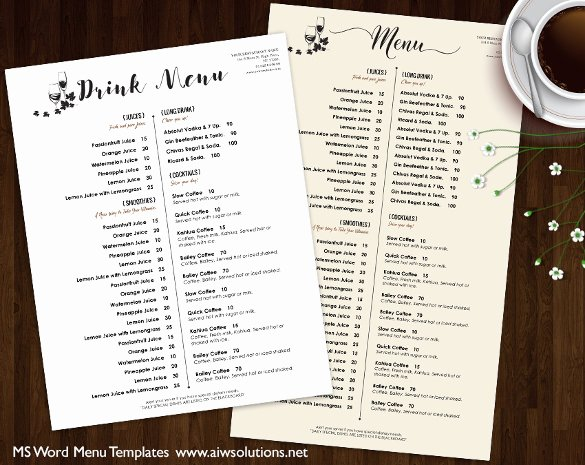 37 Wedding Menu Template – Free Sample Example format