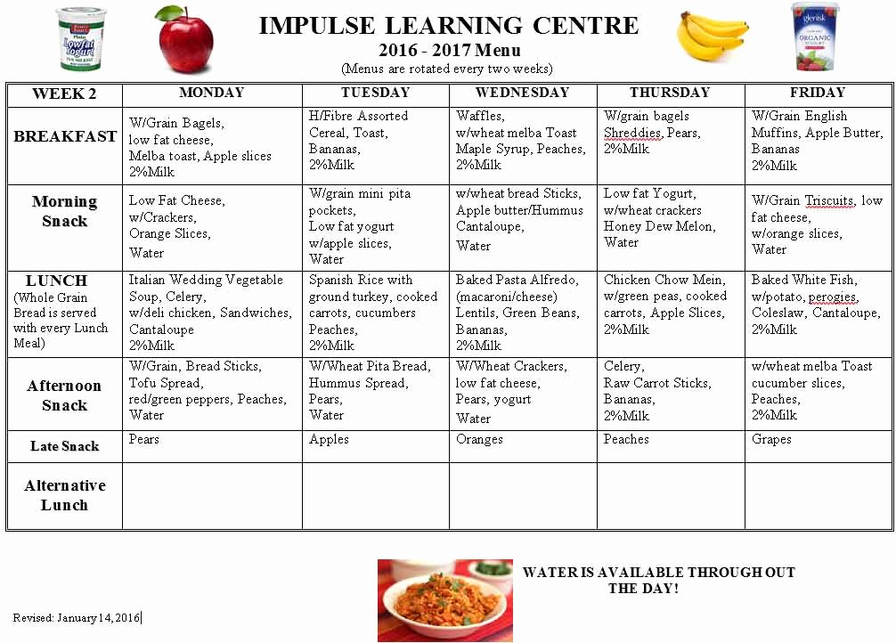 38 Daycare Food Menu Template 17 Best About Picky