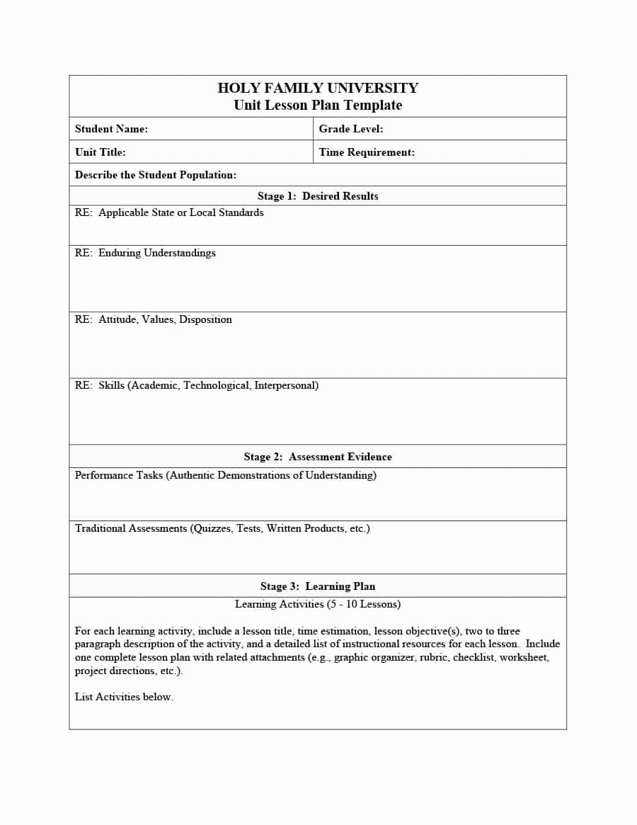 39 Best Unit Plan Templates [word Pdf] Template Lab