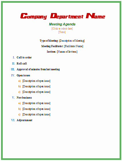 39 Professional Agenda Template Examples for Meeting and