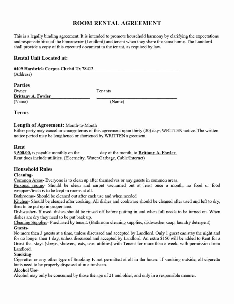 39 Simple Room Rental Agreement Templates Template Archive