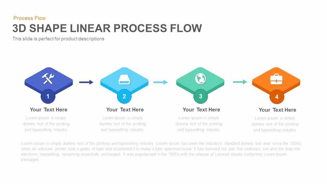 3d Shape Linear Process Flow Powerpoint and Keynote