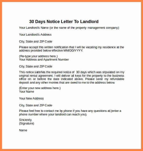 4 30 Day Notice Letter to Landlord Template