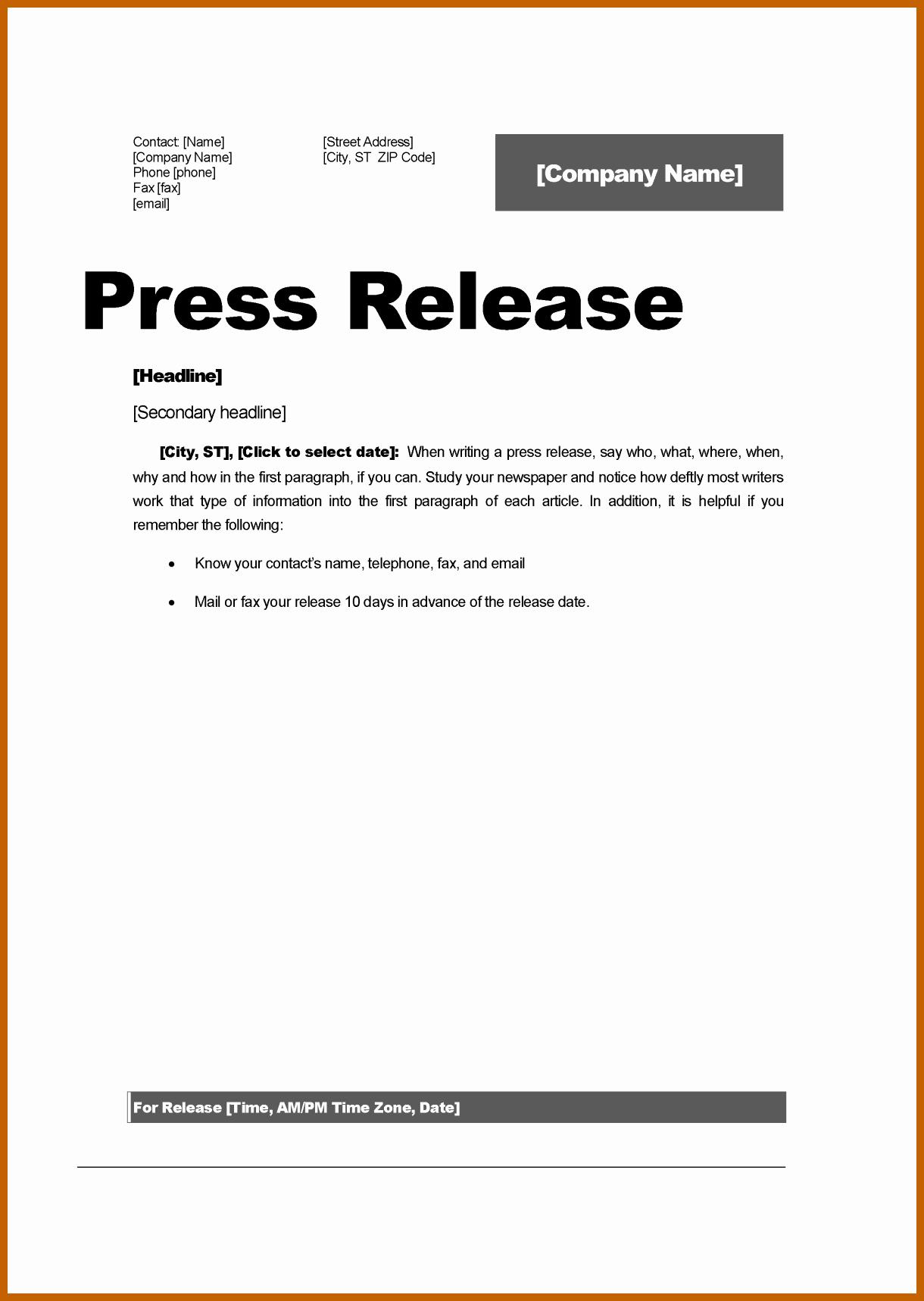 4 5 Press Release Template