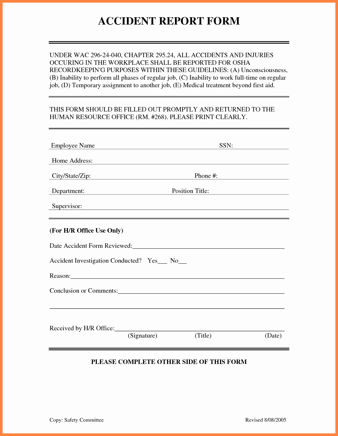 4 Accident Incident Report form Template