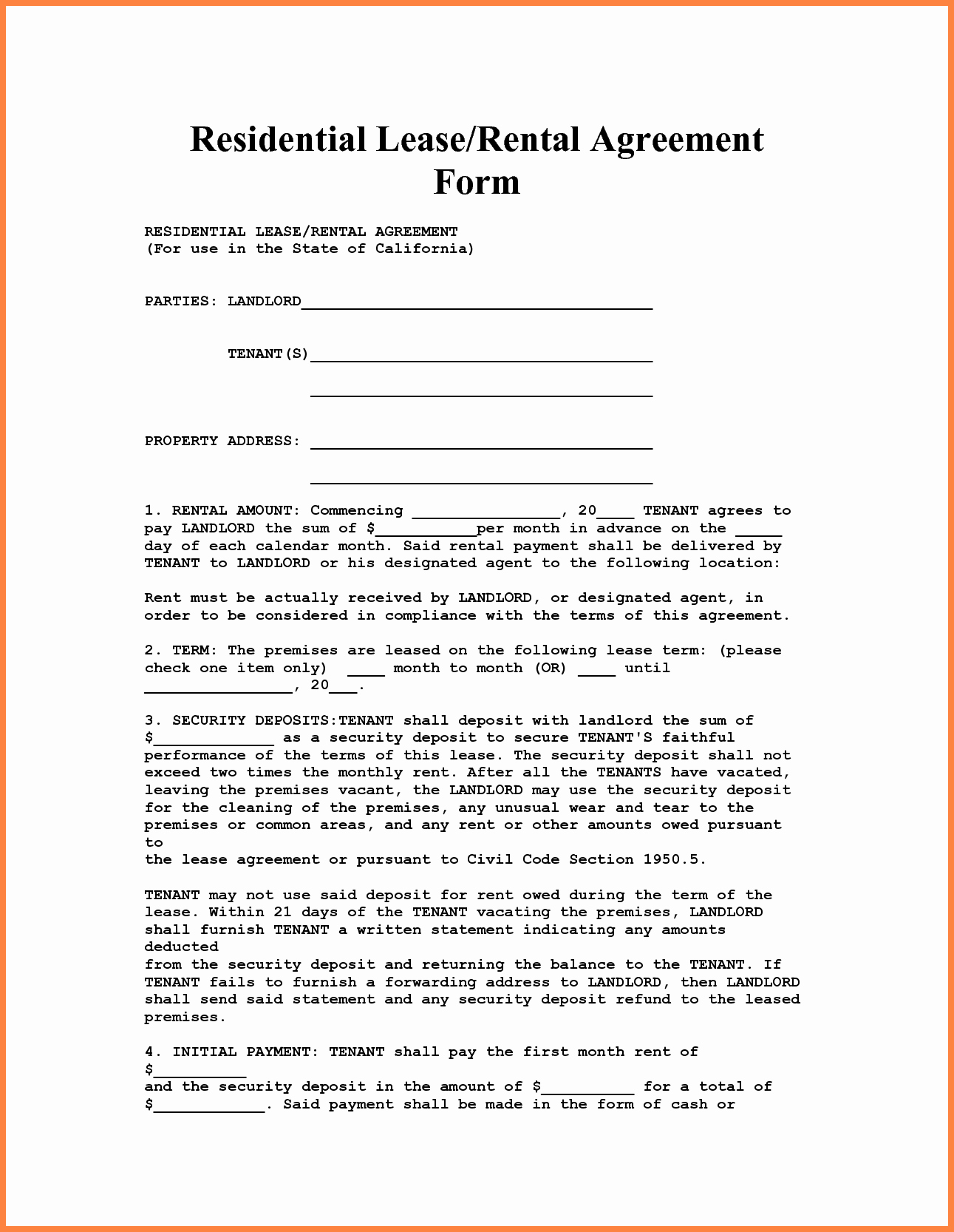 4 Apartment Lease Agreement Template Word