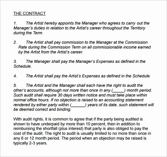 4 Artist Management Contract Templates – Free Pdf Word