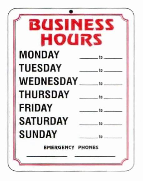 4 Best Of Free Printable Business Hours Sign