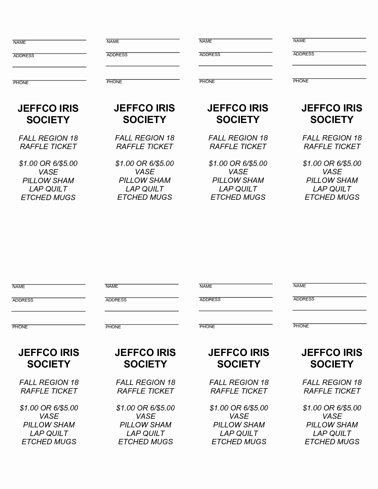 4 Best Of Free Printable Raffle Ticket Templates