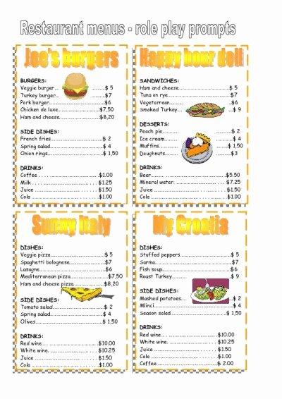 4 Best Of Free Printable Template Restaurant Menus
