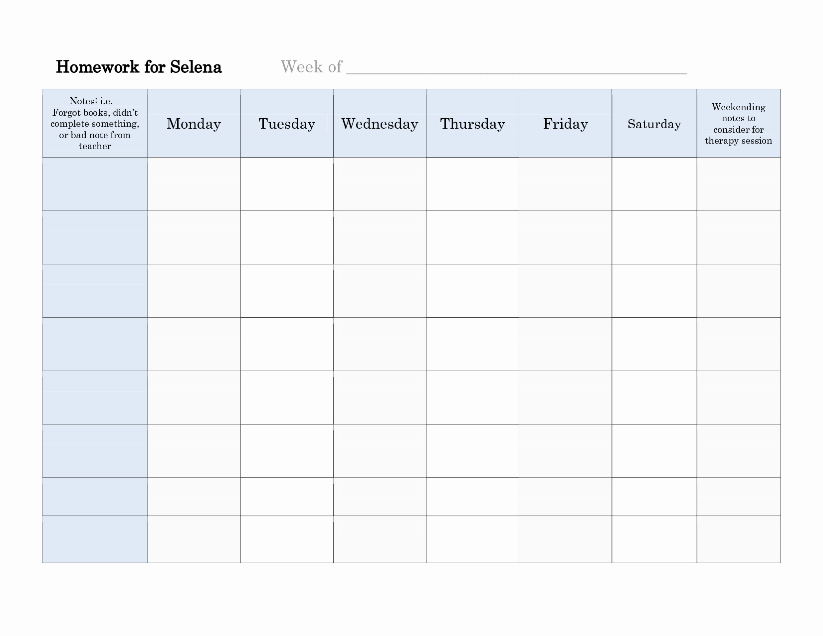 4 Best Of Printable Weekly Homework Schedule Free