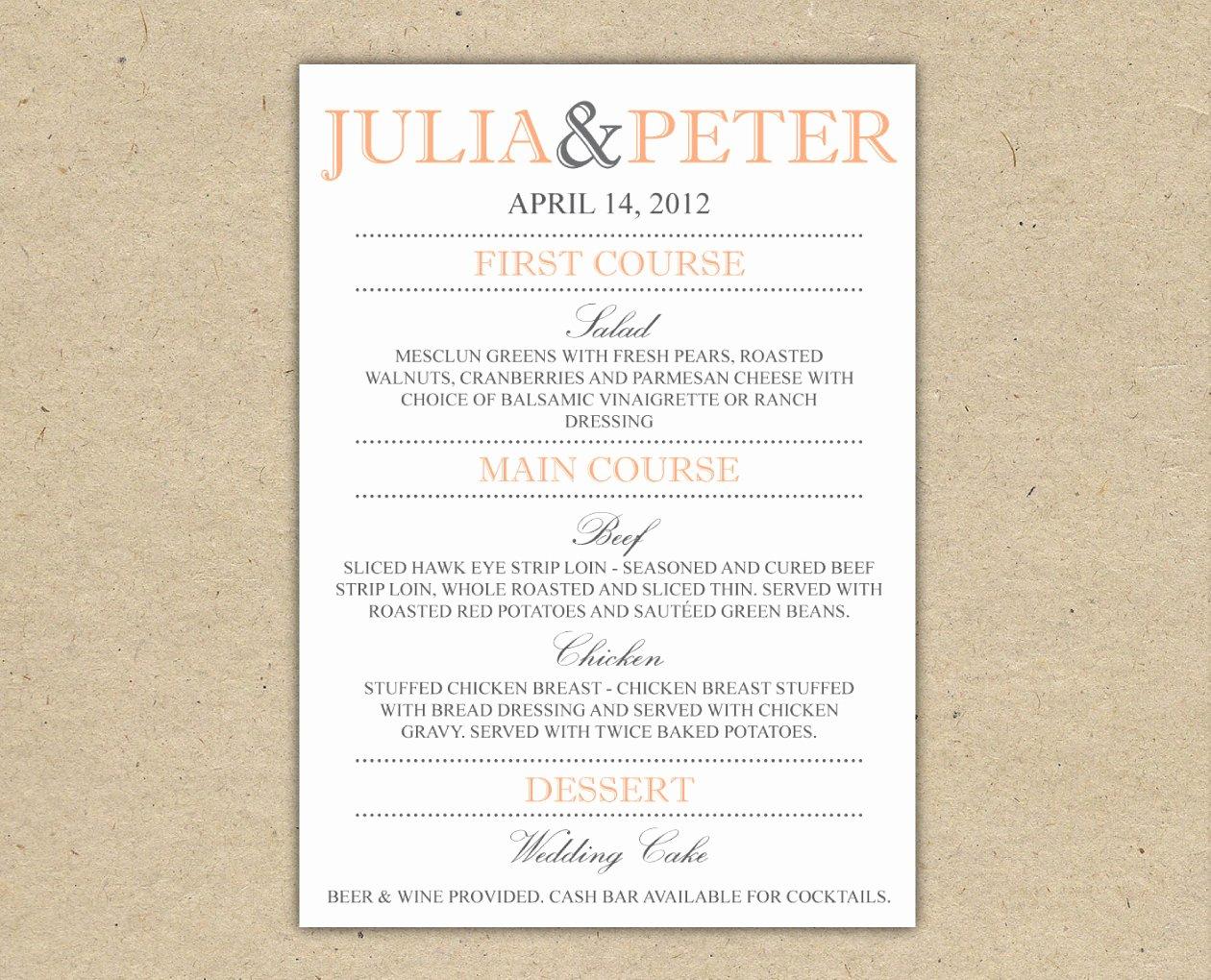 4 Best Of Wedding Dinner Menus Printable Wedding
