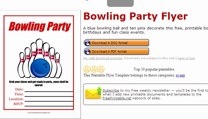 4 Bowling Fundraiser Flyer Templates