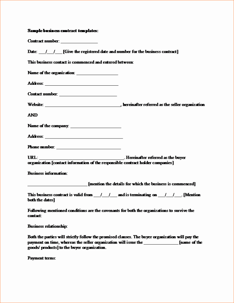 4 business contract sample