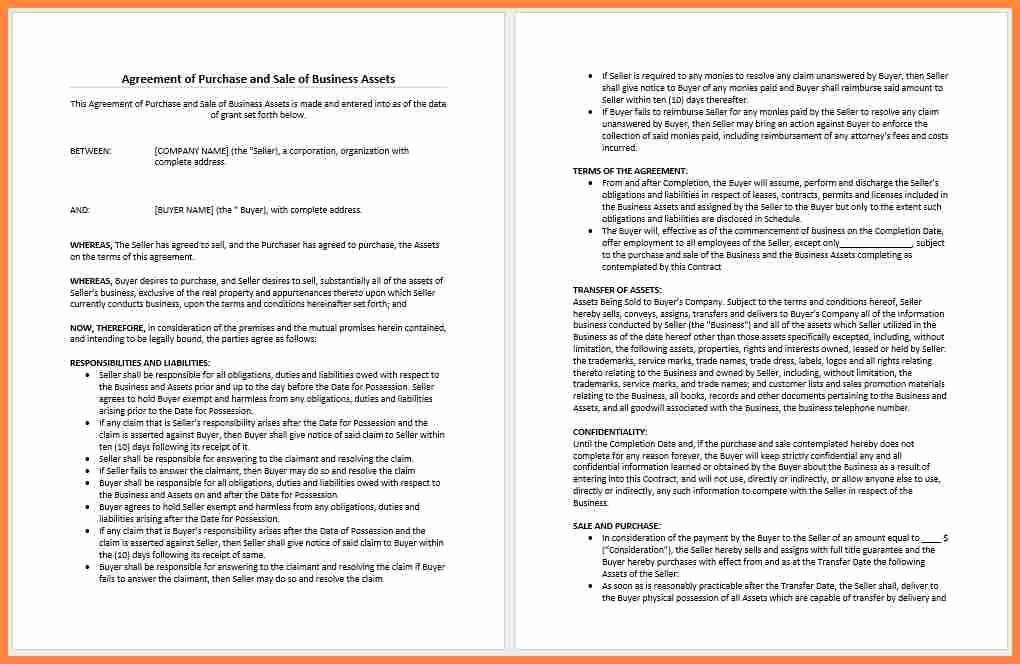 4 Business Purchase and Sale Agreement Template
