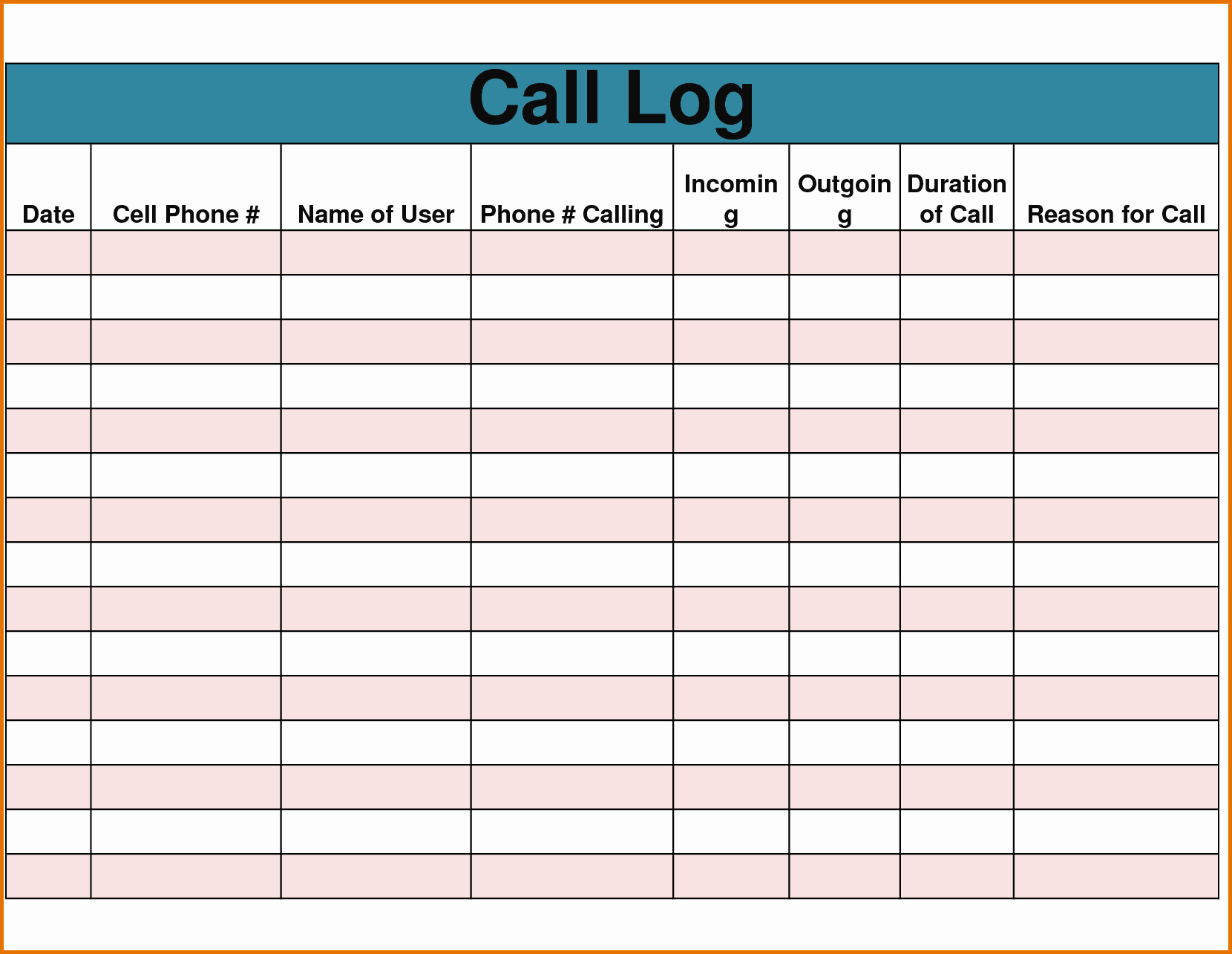 4 Call Log Templatereference Letters Words