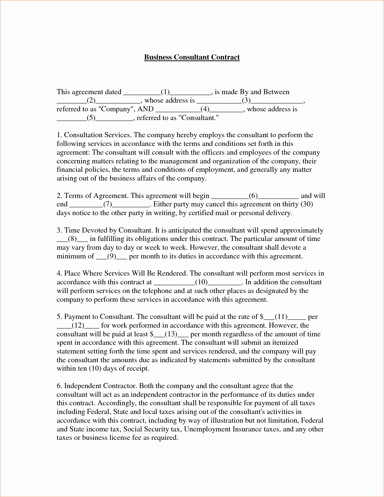 4 Consulting Contract Templatereport Template Document