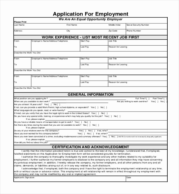 4 Employment Application form Templates Pdf