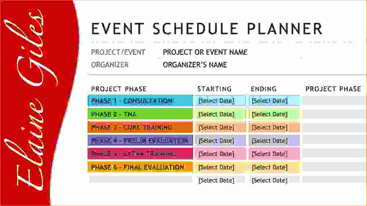 4 event Schedule Template