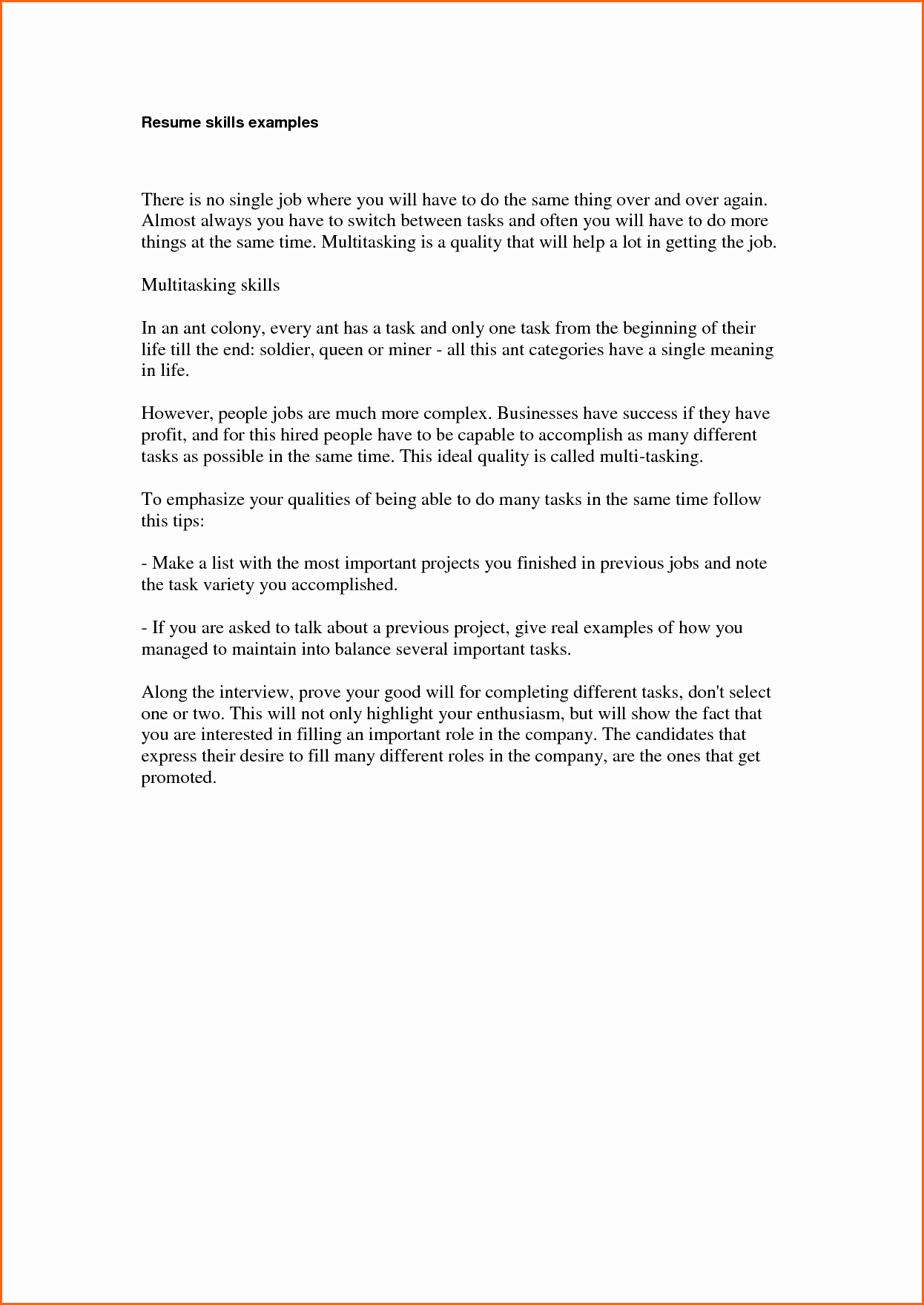 4 Examples Of Skills On Resume Bud Template Letter