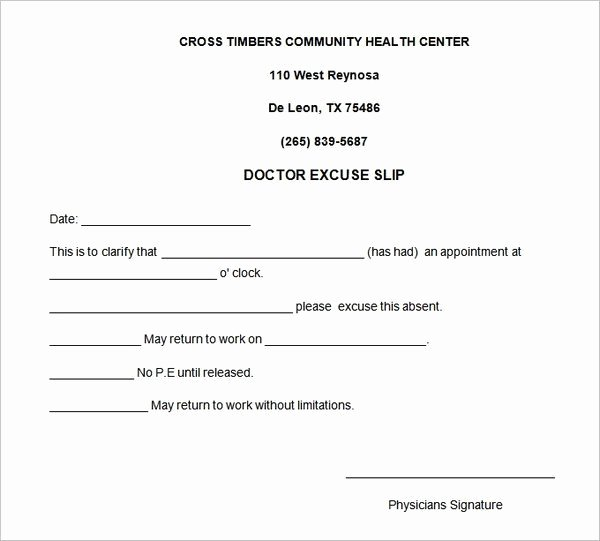 4 Free Doctors Note for Work Templates Word Excel