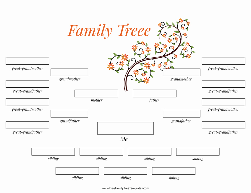 4 Generation Family Tree Many Siblings Template – Free