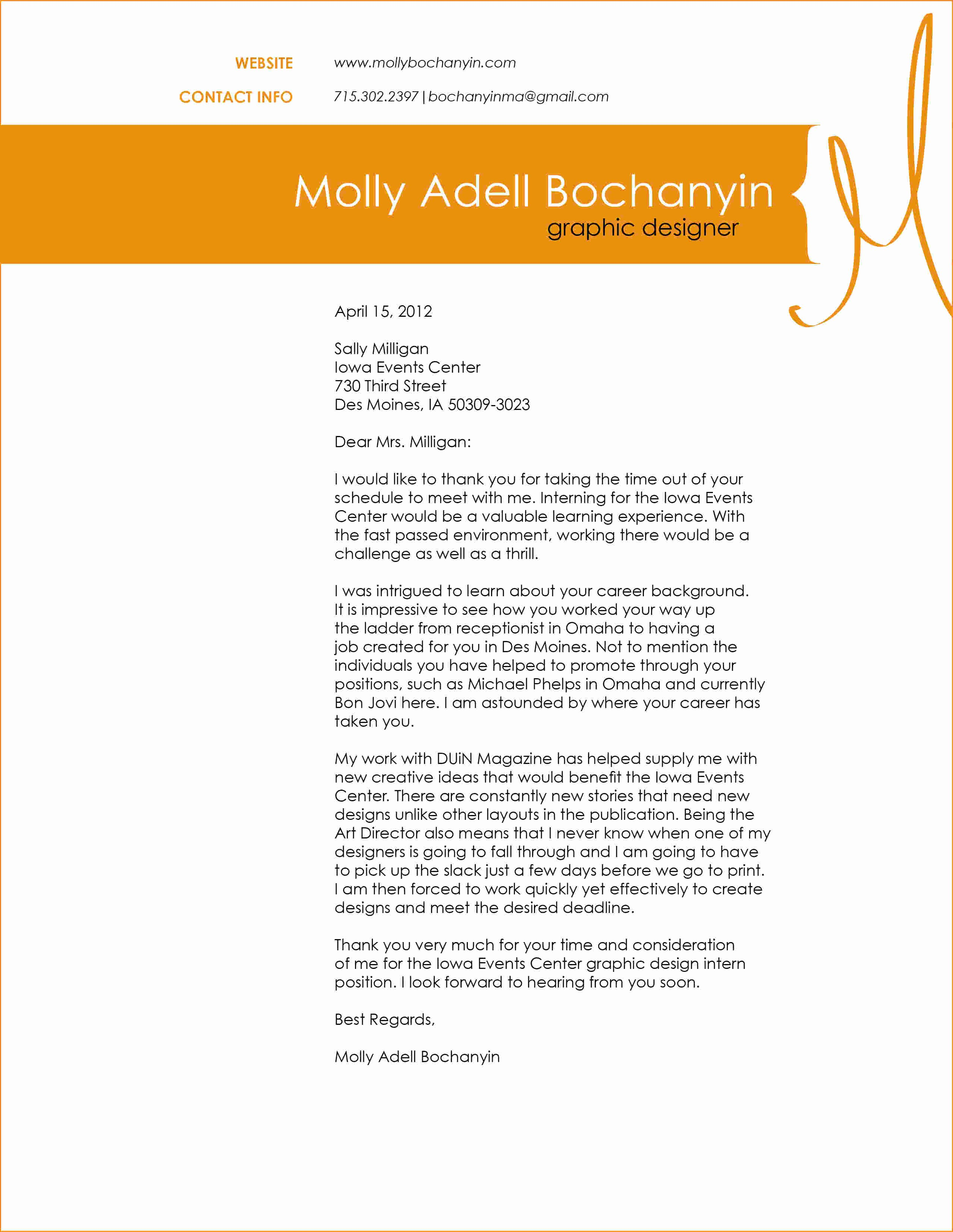 4 Graphic Design Cover Letter Example