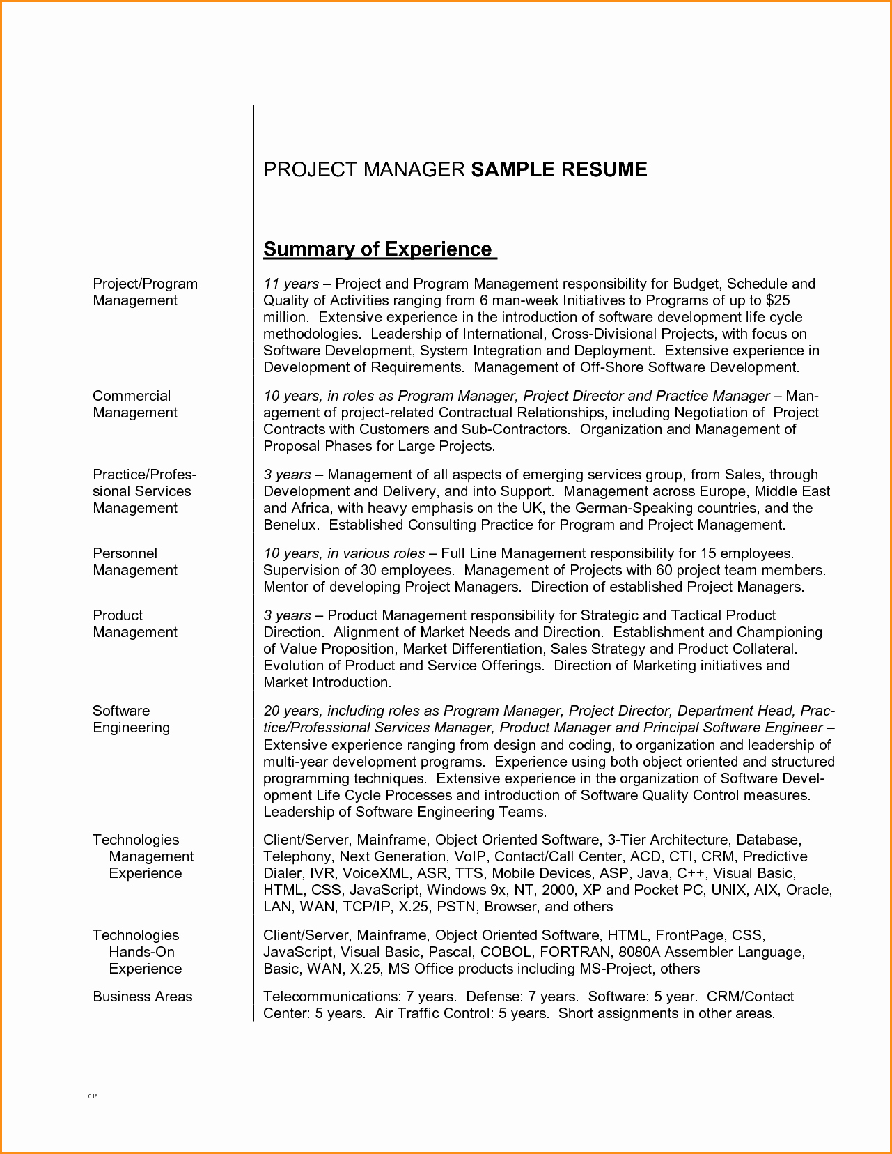 4 Great Project Manager Resume