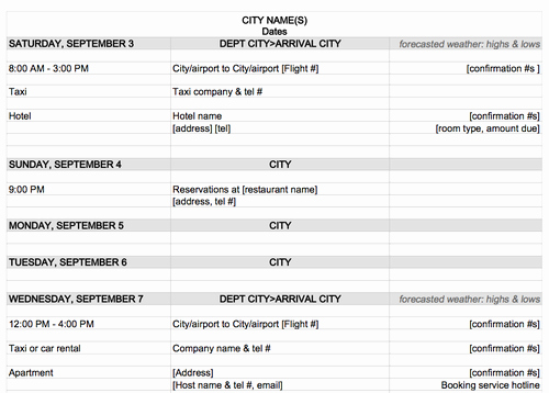 4 Itinerary Templates Excel Xlts
