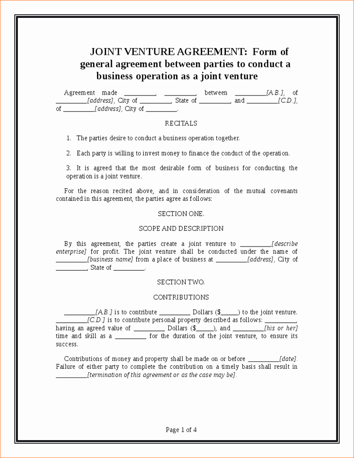 4 Joint Venture Agreement Templatereport Template
