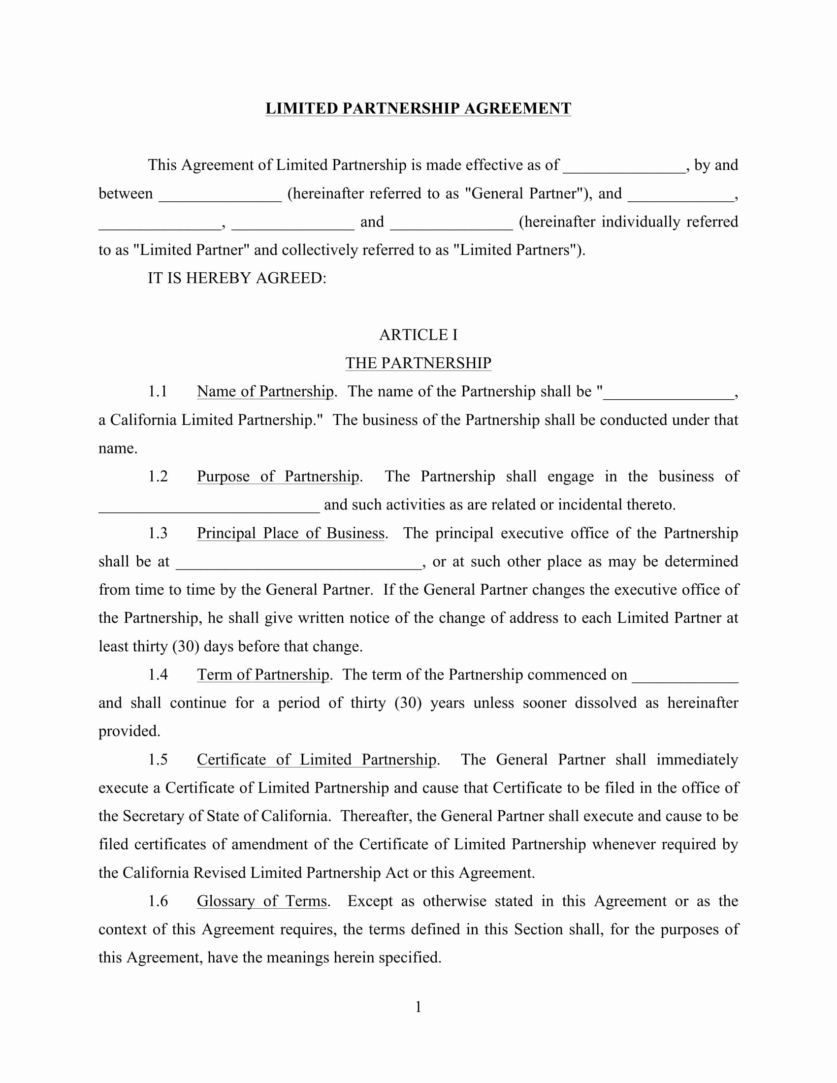 4 Limited Partnership Agreement forms Word Pdf