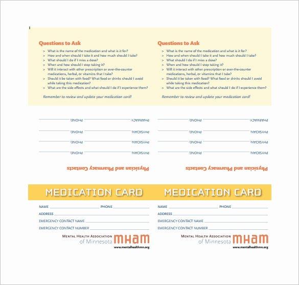 4 Medication Card Templates Doc Pdf
