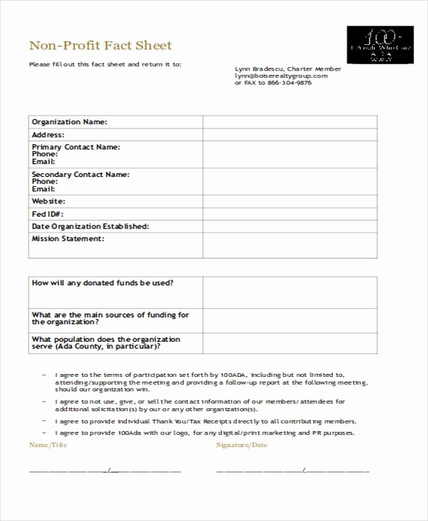 4 Non Profit Sheet Templates Free Samples Examples