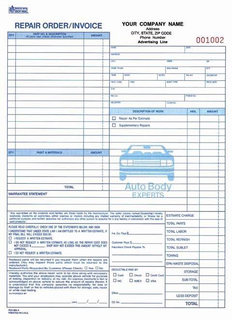 4 Part Auto Repair order Invoice